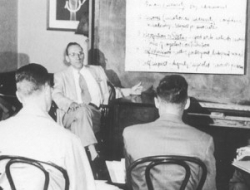Robert Greenleaf teaching a management class at AT&T in the 1950s